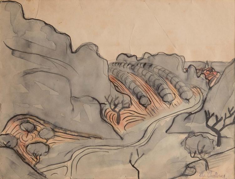 Auguste CHABAUD (1882-1955)  Cyprès dans les Alpilles. 1912.
