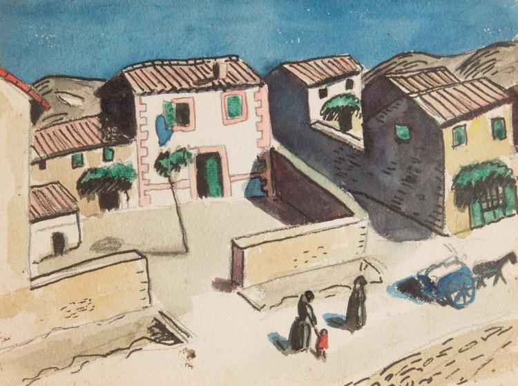 Auguste CHABAUD (1882-1955) Village animé. Circa 1910.