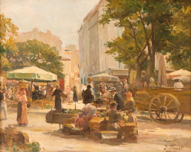 Joseph FAUST (1868-1934)  Marché en Provence.
