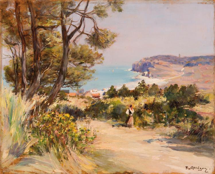 Raymond ALLEGRE (1857-1933) Bord de côte animée.