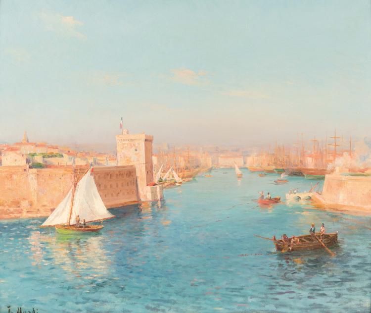 François NARDI (1861-1936)  Entrée du port de Marseille.