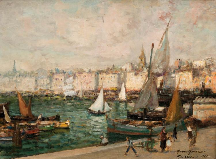Merio AMEGLIO (1897-1970)  Le port de Marseille animé. 1951.