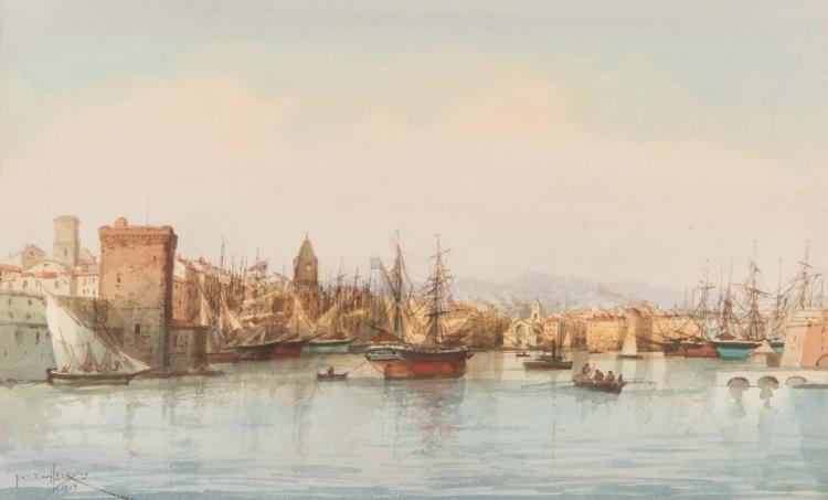 Emile HENRY (1842-1920)  L'entrée du port de Marseille. 1903.