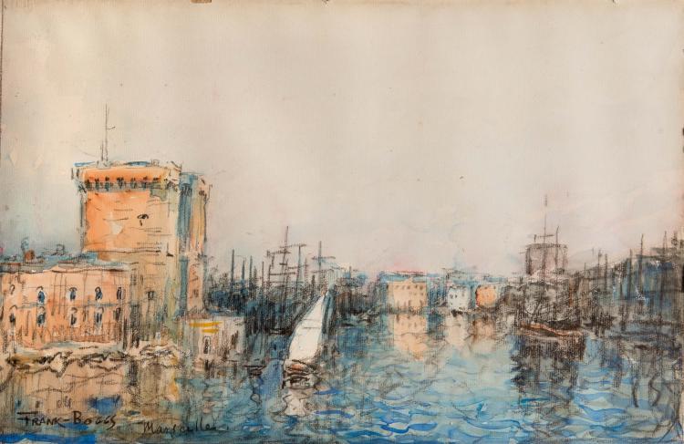 FRANK-BOGGS (1855-1926)  Le port de Marseille.