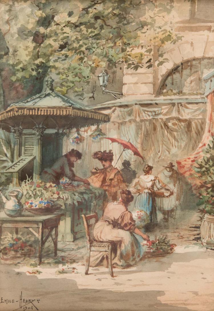 Emile HENRY (1842-1920) Le kiosque à fleurs. 1904.