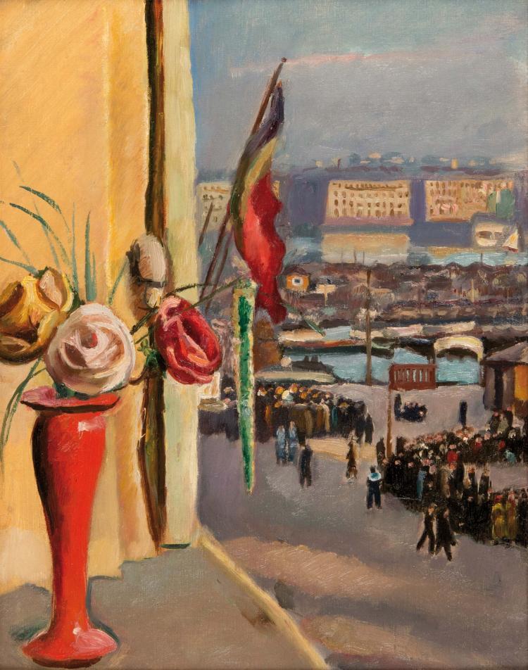 Ecole française début XXème siècle  Le port de Marseille au drapeau belge.