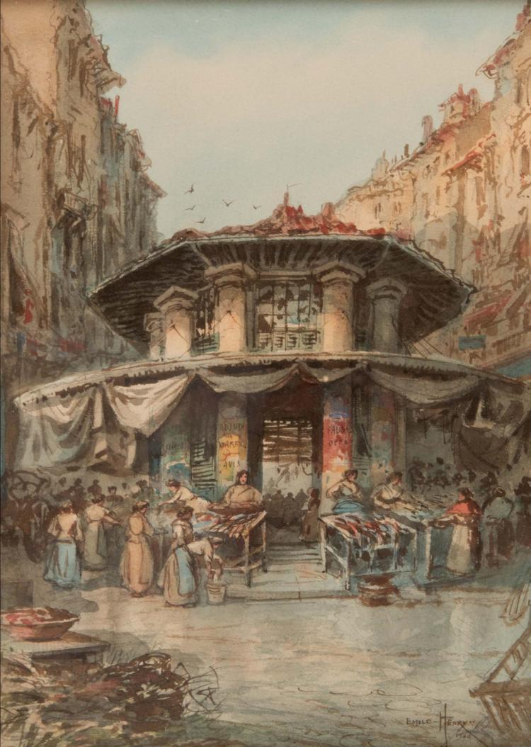 Emile HENRY (1842-1920) Le marché aux poissons. 1904.