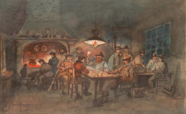 Emile HENRY (1842-1920)  La partie de cartes. 1911.