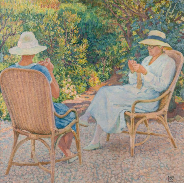 Théo van RYSSELBERGHE (1862-1926) Marie et Elisabeth Van Rysselberghe tricotant au jardin du Lavandou.