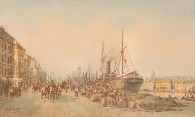Emile HENRY (1842-1920) Le déchargement des tonneaux sur le port de Marseille.