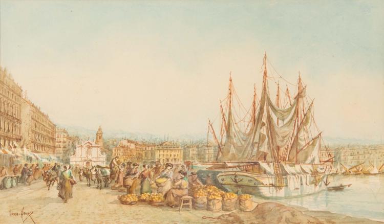 Emile HENRY (1842-1920)  Marché sur le port de Marseille.