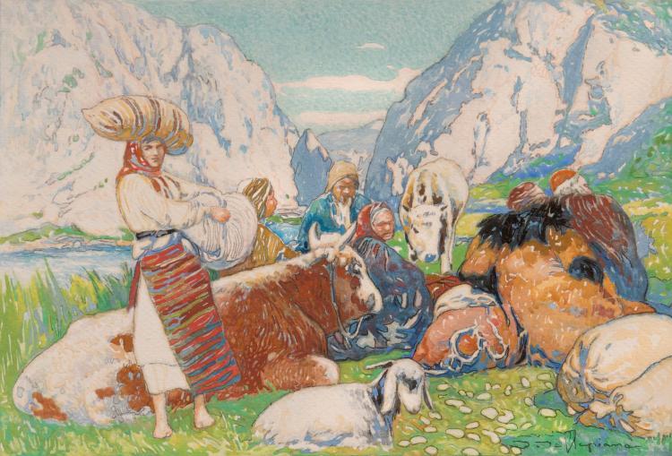 David DELLEPIANE (1866-1932)  Bergers dans la montagne.