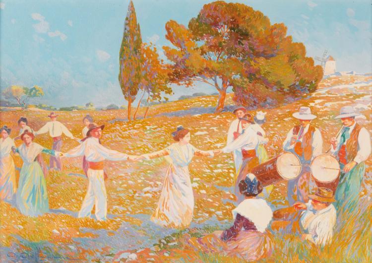 David DELLEPIANE (1866-1932)  La farandole en Provence.