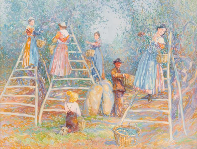 David DELLEPIANE (1866-1932)  La cueillette des olives.
