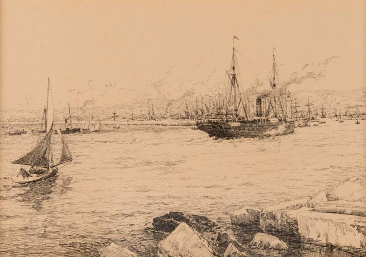 Jean-Baptiste OLIVE (1848-1936)  L'entrée du port de Marseille.