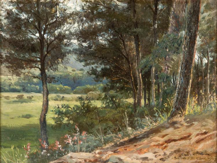 Jean-Baptiste OLIVE (1848-1936)  Paysage boisé. 1877.