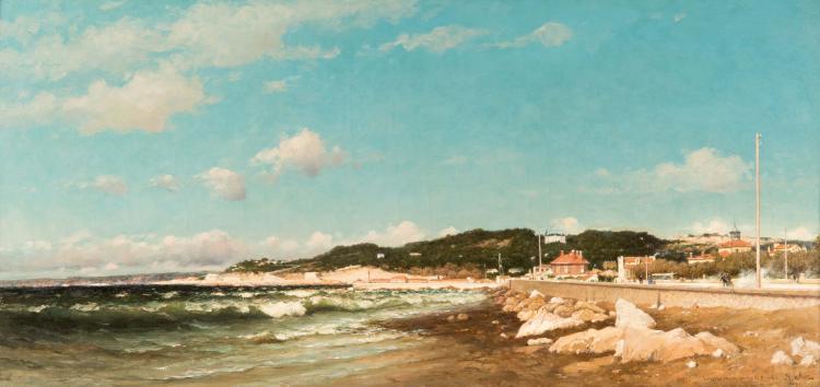 Jean-Baptiste OLIVE (1848-1936) Plage du Prado à Marseille. 1883.