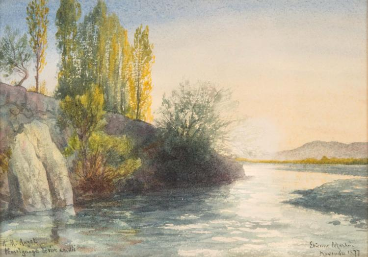 Étienne Philippe MARTIN (1856/58-1945) Paysage à la rivière. 1877.