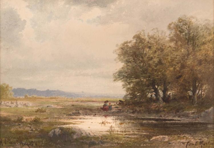 Étienne Philippe MARTIN (1856/58-1945)  Bord de rivière animé.