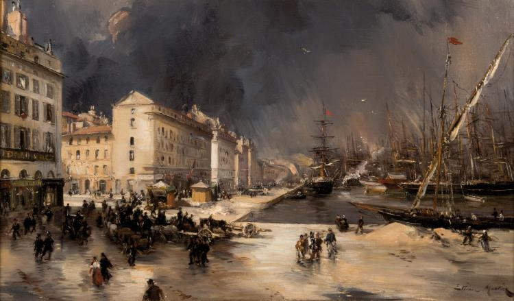 Étienne Philippe MARTIN (1856/58-1945)  Marseille par une matinée d'hiver, 1894.