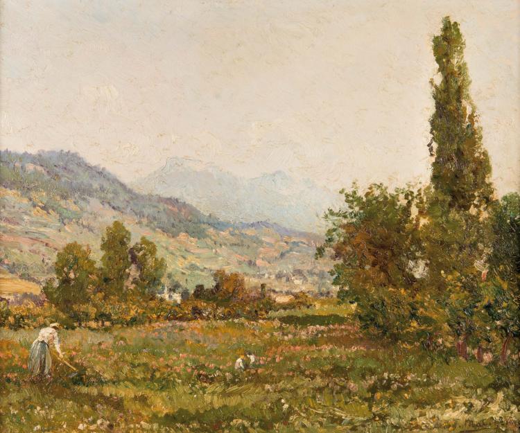 François MAURY (1861-1933)  Paysage animé. 1923.