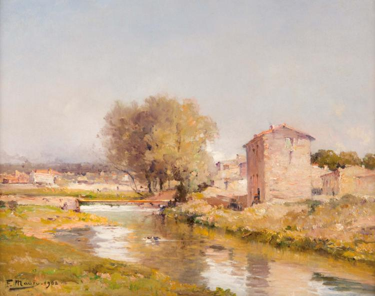 François MAURY (1861-1933) Rivière traversant le village. 1902.