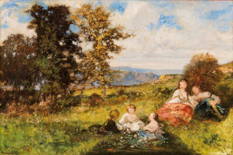 Adolphe MONTICELLI (1824-1886)  Enfants dans la clairière.
