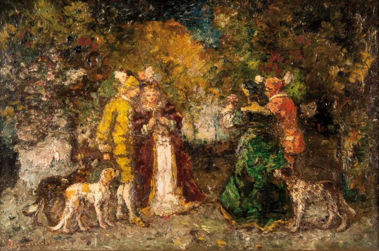 Adolphe MONTICELLI (1824-1886)  Scène de parc.