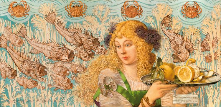 Gustav Adolf MOSSA (1883-1971) La Blonde aux poissons. 1904.