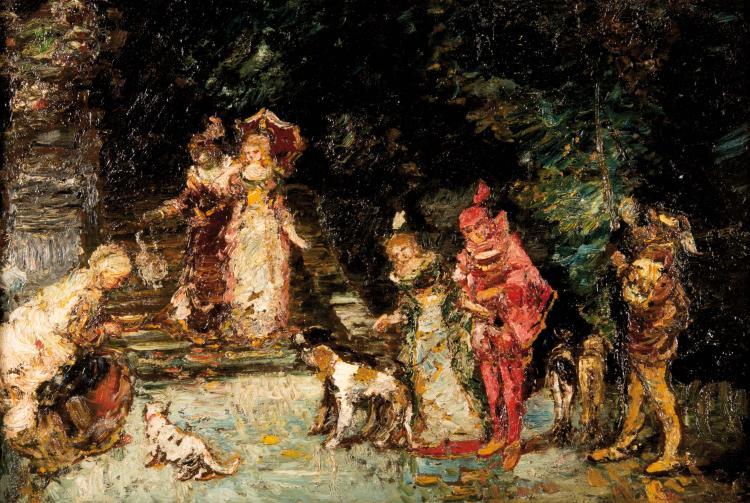 Adolphe MONTICELLI (1824-1886)  Faust et scène dans le parc.
