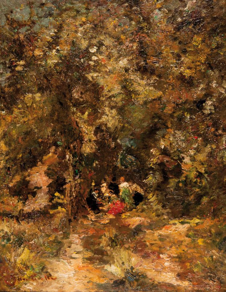 Adolphe MONTICELLI (1824-1886)  Assemblée dans un sous-bois.