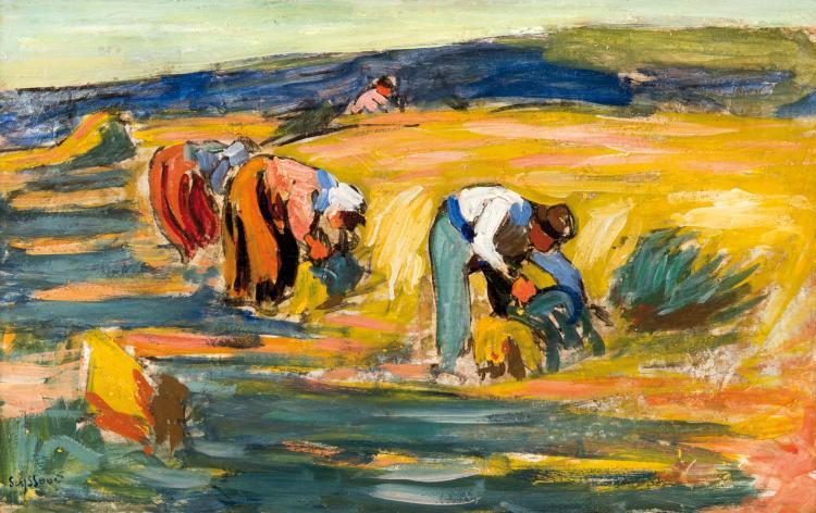 René SEYSSAUD (1867-1952)  Paysans au champ.