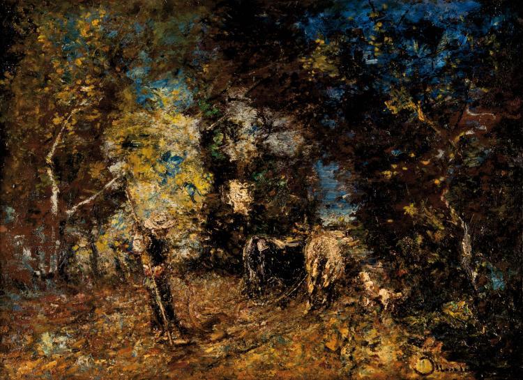 Adolphe MONTICELLI (1824-1886) Scène de labour.