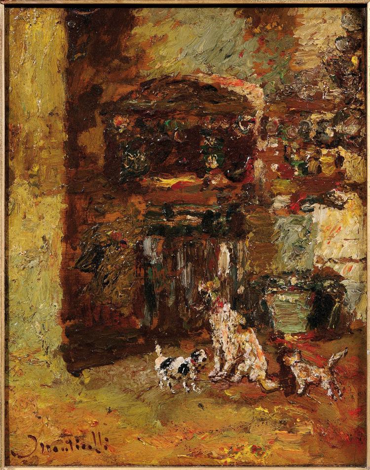 Adolphe MONTICELLI (1824-1886) Trois chiens dans un parc.
