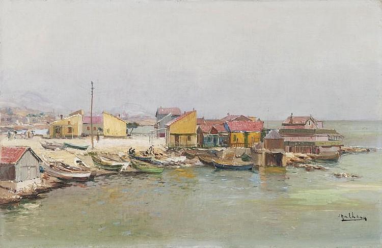 Louis NATTERO (1870-1915)La Pointe Rouge.Huile sur toile.Signée en bas à droite.30 x 46 cm.