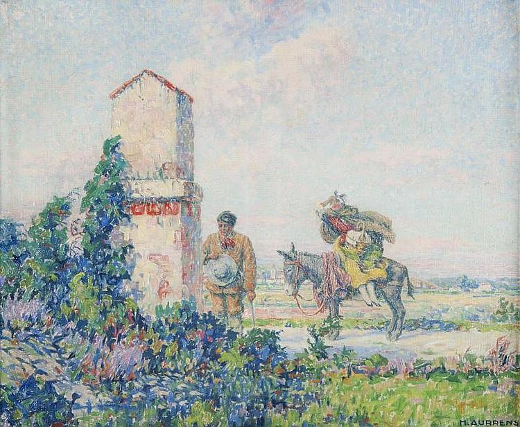 Henri AURRENS (1873-1934)Halte devant l'oratoire.Huile sur toile.Signée en bas à droite.53 x 65 cm.