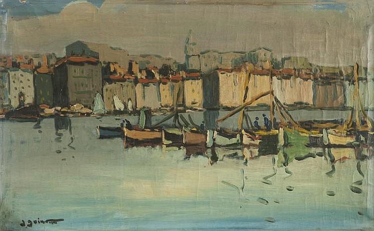 Jean GUINDON (1883-1976)Le Vieux Port de Marseille.Huile sur toile.Signée en bas à gauche.40 x 63 cm.