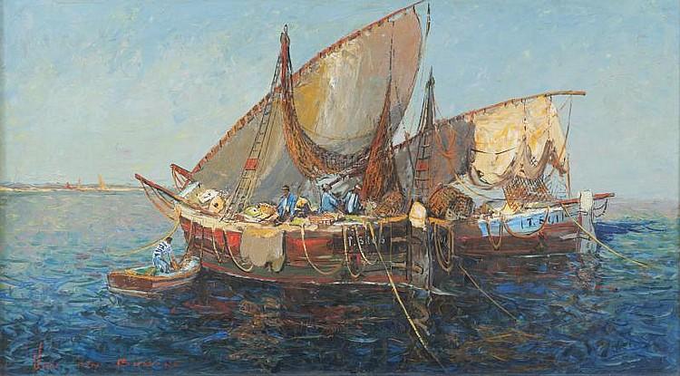 Jacques VAN DEN BUSSCHE (1925)Tartanes en mer.Huile sur isorel.Signée en bas à gauche.60 x 107 cm.