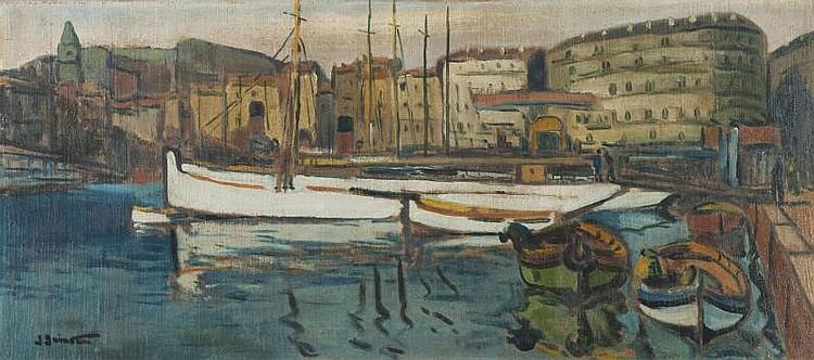 Jean GUINDON (1883-1976)Le Vieux Port de Marseille.Huile sur toile marouflée sur panneau.Signée en bas à gauche.40 x 92 cm.