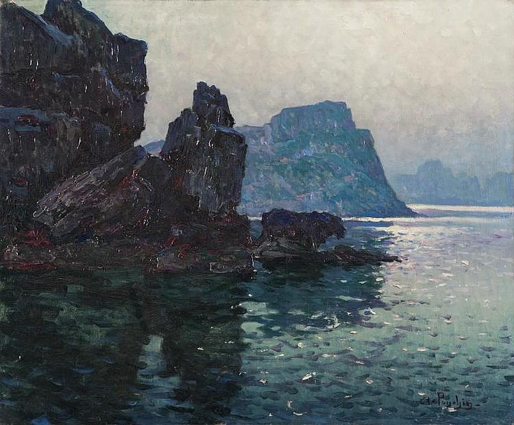 Antoine PONCHIN (1872-1934)Cap Canaille à Cassis.Huile sur toile.Signée en bas à droite.54 x 65 cm.