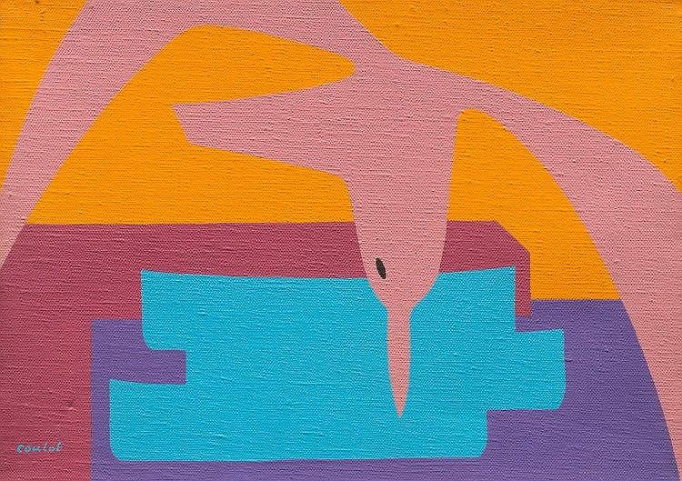 Jean COULOT (1928-2010)  La Mouette aux barques.  Acrylique sur toile.