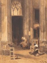 Louis Adolphe HERVIER (Paris 1818 – 1879) Intérieur d'église animée