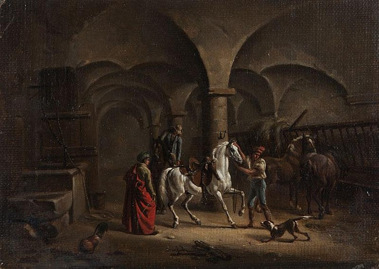 Marie-Marc-Antoine BILCOQ (Paris 1755 - 1838)Le dressage du cheval dans une écurie.Toile marouflée sur panneau préparé.Monogrammé en bas à gauche B.14 x 20 cm.