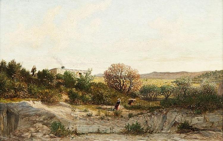 Prosper GRESY (1804-1874)Paysage.Huile sur panneau.Signée et datée 1860 en bas à droite.40 x 60 cm.