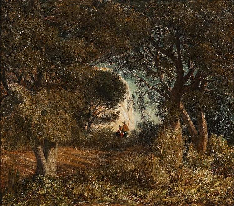 Prosper GRESY (1804-1874)Promeneurs dans le sous-bois.Huile sur panneau.Signée en bas à gauche et datée 1862.53 x 60 cm.