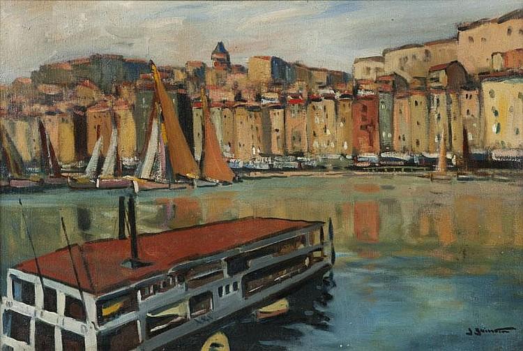 Jean GUINDON (1883-1976)Le ferry-boat dans le port de Marseille.Huile sur panneau.Signée en bas à droite.49 x 71 cm.
