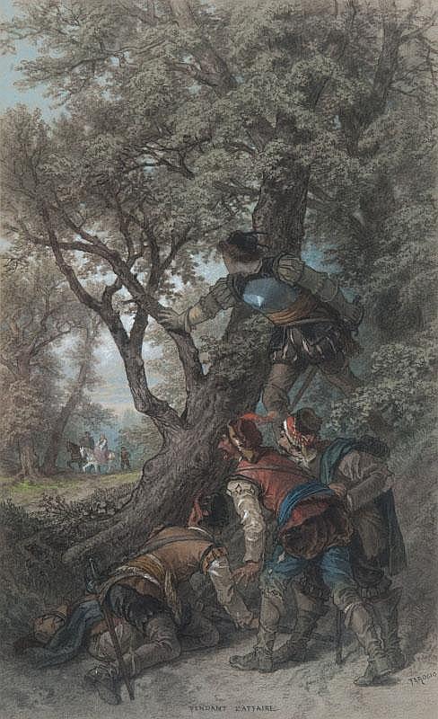 François Fortuné A. FEROGIO (1805-1888)Pendant l'affaire.Aquarelle, pastel et gouache.Signée en bas à droite et titrée en bas au centre.43 x 26 cm.