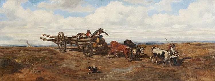 Emile LOUBON (1809-1863)L'attelage sur les hauteurs de Marseille.Huile sur toile.Signée en bas à droite.34 x 88 cm.