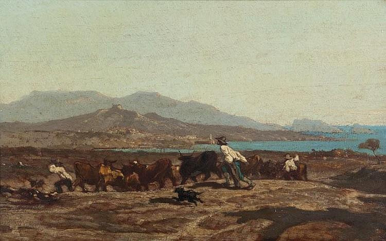 Emile LOUBON (1809-1863)Vue de Marseille, prise des Aygalades, un jour de marché.Etude pour le tableau conservé au Musée des Beaux-Arts de Marseille.Huile sur toile.Signée et datée 1850 en bas à droite.46 x 55 cm.