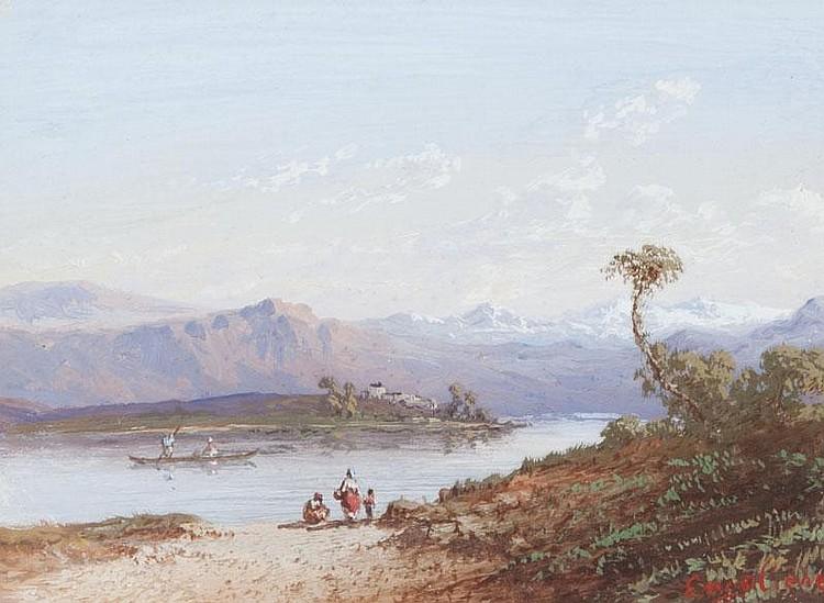 Marius ENGALIERE (1824-1857)Paysage au lac de montagne.Gouache.Signée en bas à droite.12 x 14 cm.